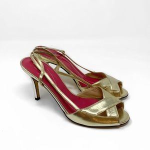 Kate Spade Gold Strappy Heels